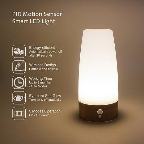 Lampara de Mesita de Noche LED de Bateria con Sensor de Movimiento Inalambrica Iluminacion Blanco Calido