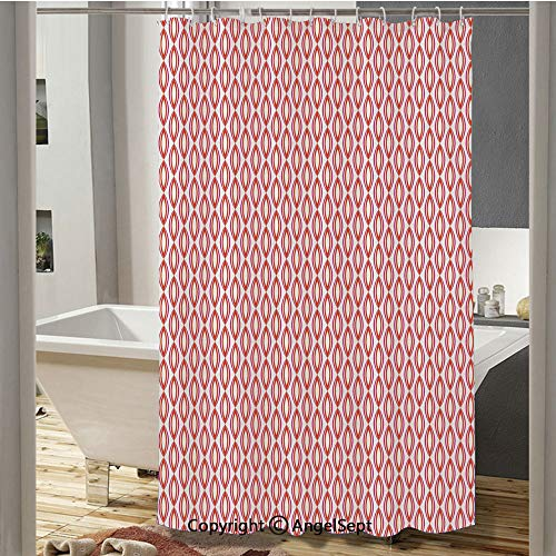 Abstract Ethnic Retro Vivid Vertical Ovals Symmetric Curves Artful Print Bathroom Shower Curtain(37