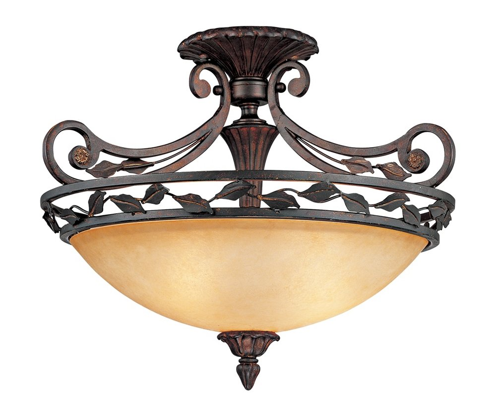 Scavo Leaf and Vine Bronze 21'' Wide Ceiling Light Fixture