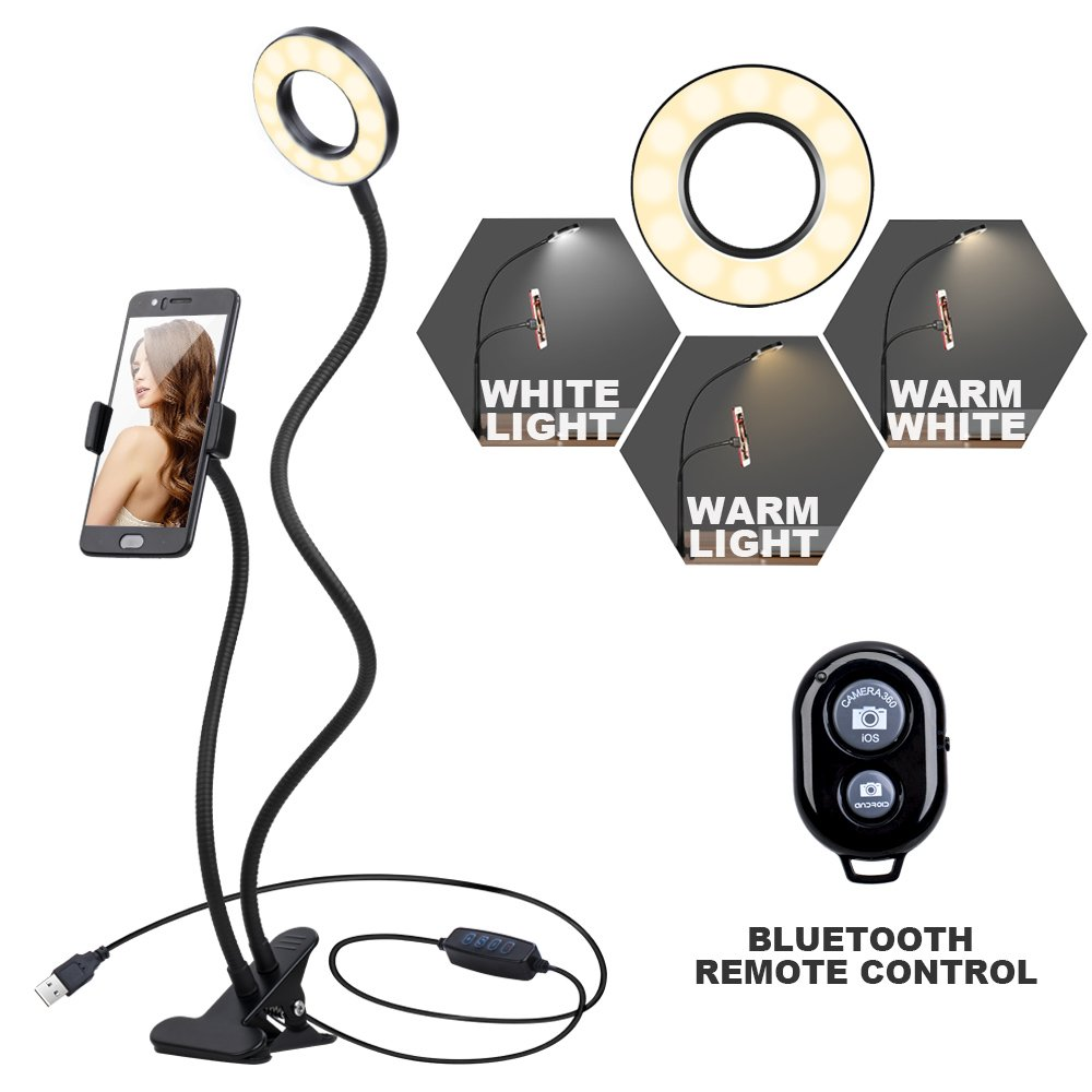K&F Concept Selfie Ring Light with Cell Phone Holder for Live Stream and Makeup, LED Light [3-Light Mode] [10-Level Brightness] with Remote Control and Flexible Hose Bracket for iPhone Android by K&F Concept (Image #1)
