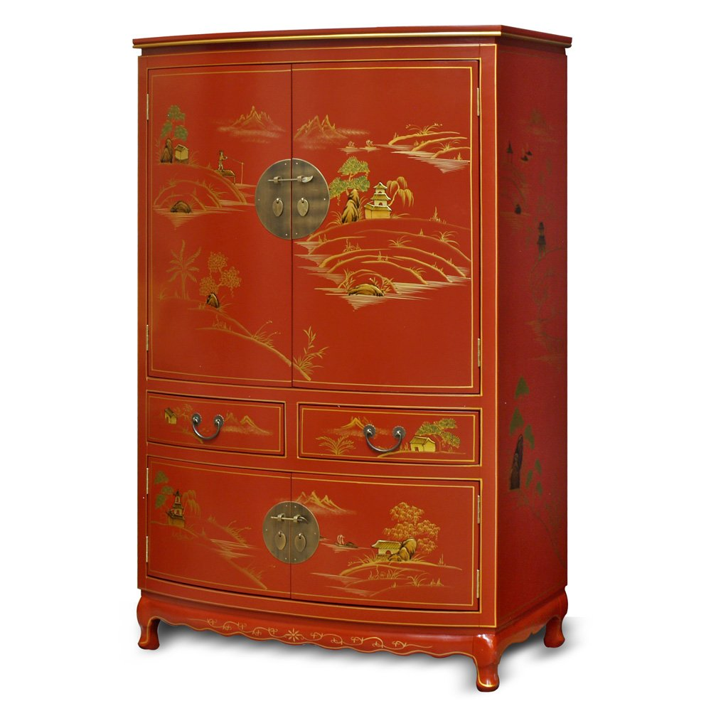 Amazon.com: China Furniture Online Chinoiserie TV Armoire, Hand ...
