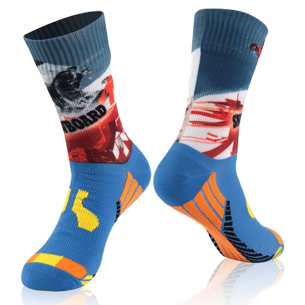 RANDY SUN Gift Socks, Unisex Coolmax Cycling Running Trekking Canyoneering Socks, 1 Pair-Snowboard Printing-Mid Calf Socks,Medium by RANDY SUN