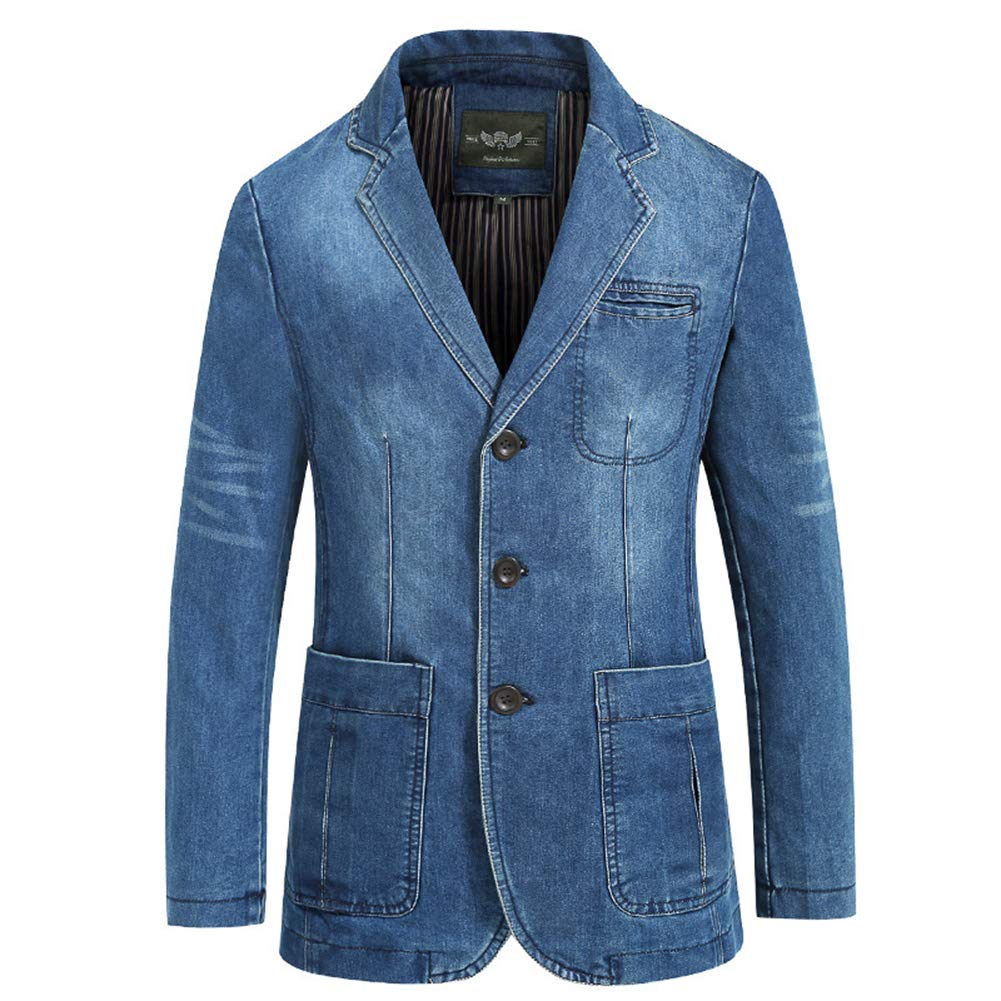 HEMAY Men's Vintage Denim Blazer Suit Button Down Jacket Coat
