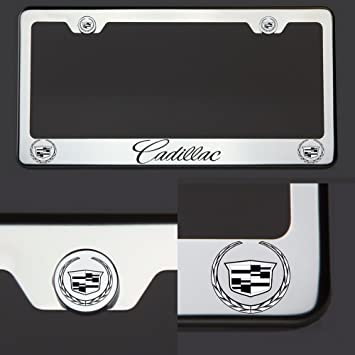Cadillac SRX Laser Style Stainless Steel Black License Plate Frame Caps