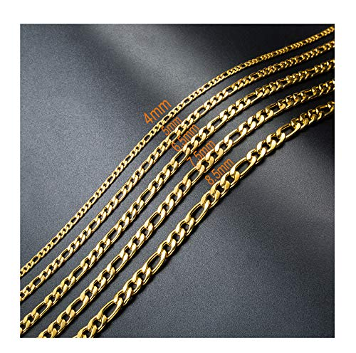 16-30 Inches Gold Plated Figaro Chain Necklace 5MM Stainless Steel Figaro Link Chain for Men Women ()