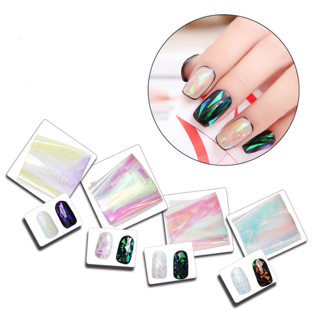 aiuin 4ST Nail Art adhesivos Broken Cristal Caramelos de colores Nail Art Sticker Pegatinas Nail Tips Decoración