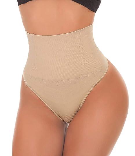 5af37760cc1f SEXYWG Women Waist Cincher Girdle Tummy Control Thong Panty Slimmer Body  Shaper Beige