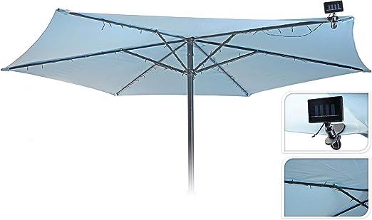 Guirnalda de luces LED para sombrilla solar – 72 LED – Sombrilla de jardín para fiestas, iluminación exterior: Amazon.es: Iluminación