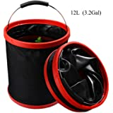 VKOSHA Collapsible Bucket , Water Bag 12L 2000 D Oxford Cloth Multi-functional Fold-able, Portable Travel Outdoor Wash Basin,Perfect for Camping, Hiking, Travel, Fishing, Car Washing, Flower Watering