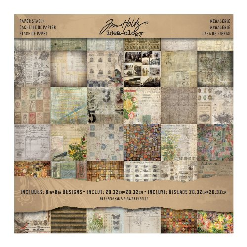 Cardstock X 8 8 - Menagerie Mini Stash by Tim Holtz Idea-ology, 36 Sheets, Double-Sided Cardstock, 8 x 8 Inch, Multicolored, TH93111