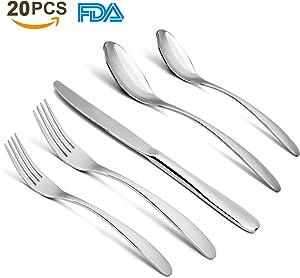 Free 20-Piece Flatware Silverware Cutlery Set - Stainless...