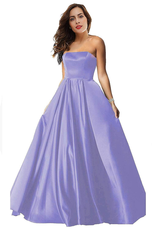 purplec Womens Satin Long Prom Dresses 2019 Floor Length Strapless Evening Gowns P179