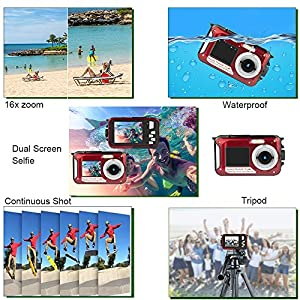 Dual Screen Waterproof HD Digital Camera Underwater Sports Video Recorder Camera, 24MP 1080P Point and Shoot Digital DV Recorder Camera-Red from Yasolote