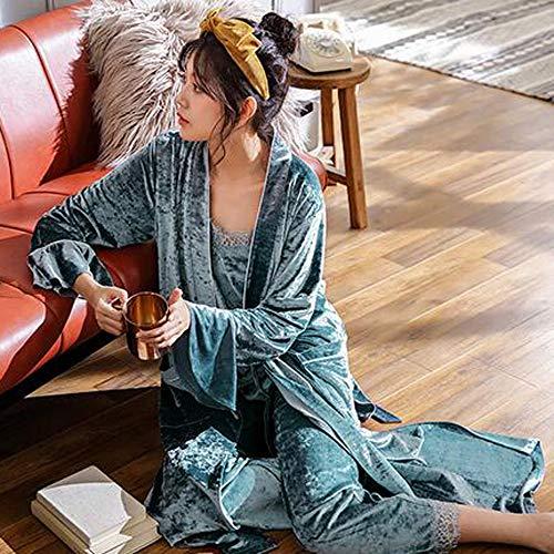 Primavera Donna Notte Blu Pigiama Cardigan Oro Da Tre Velluto grigio Camicie Pigiameria GZZ Da Donna Autunno Pizzo Da Inverno Notte M Pigiami Pezzi EfqE8H
