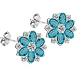Silver Flower design earrings/pendant with Aquamarine CZ Crystals available as a set by BodyTrend