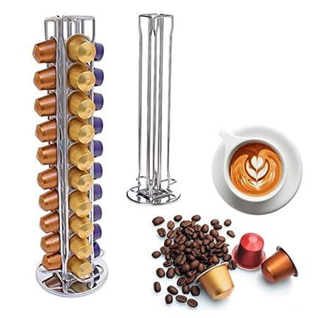 YGJT Soportes para Cápsulas de Café Nespresso-40 Piezas Café 360 Grados Giratorio Cápsulas-Cromo Plateado Elegante con Acero Inoxidable 11.5x11.5x39cm ...