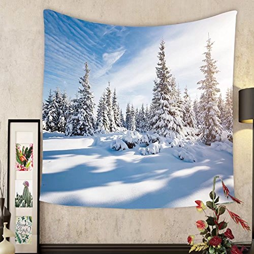 Evelyn C. Connor Custom?tapestry majestic white spruces glowing by sunlight picturesque and gorgeous wintry scene location place ()
