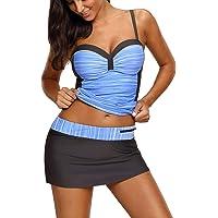 Bsubseach Mujer Conjunto de 2 Piezas Traje de Baño Colorblock Camiseta deTirantes y Falda