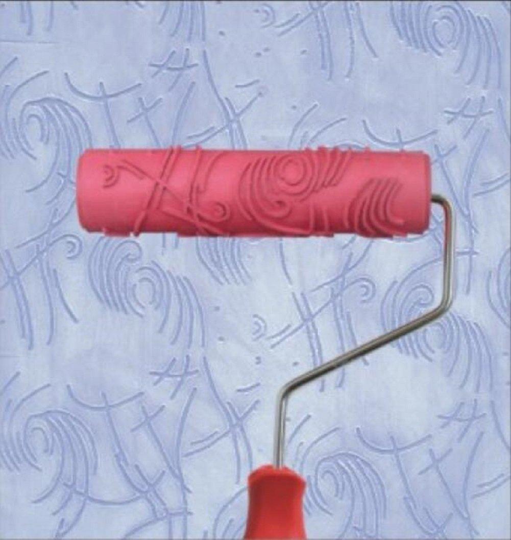 Bueer 7 DIY Patterned Paint Roller Decorative Rubber Roller with Plastic Handle Model EG072
