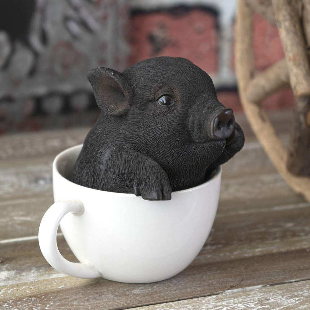 SUMMIT COLLECTION Adorable Pigs in Teacup Figurine Novelty Ornament Tabletop Decor Polyresin Piggy Figurine 5.25 Inches Tall (Black)