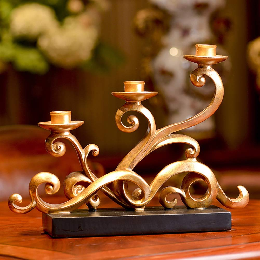 XiYunHan European Style Classical Hollow Iron Art Candlestick Decoration Retro Pattern Wedding Home Creative Resin Crafts Bracket Romantic Western Food Desktop Decoration Candle Cup Display Stand
