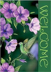 "Morigins Welcome Hummingbirds Flower Floral Decorative Spring Summer Garden Flag 12.5""x18"""