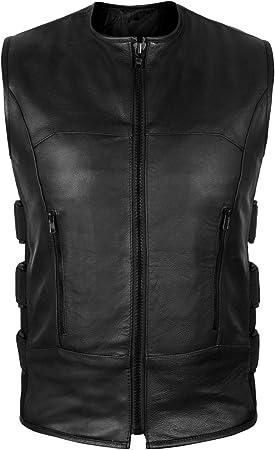 2Fit Mens Swat Motorcycle Biker Leather Vest with Adjustable sides L
