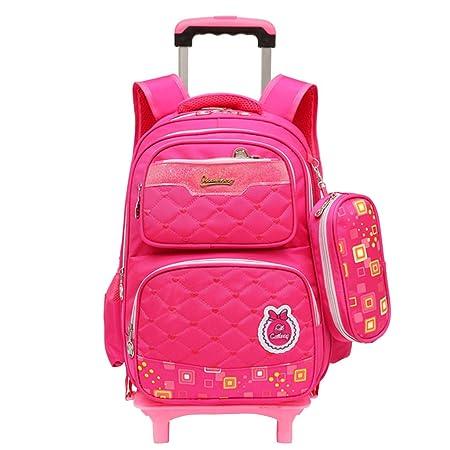 Kids Rolling School Backpacks - Boys Girls Trolley Schoolbag Waterproof  Primary Child Bookbag Outdoor Travelling Nylon e0d93a8ea0
