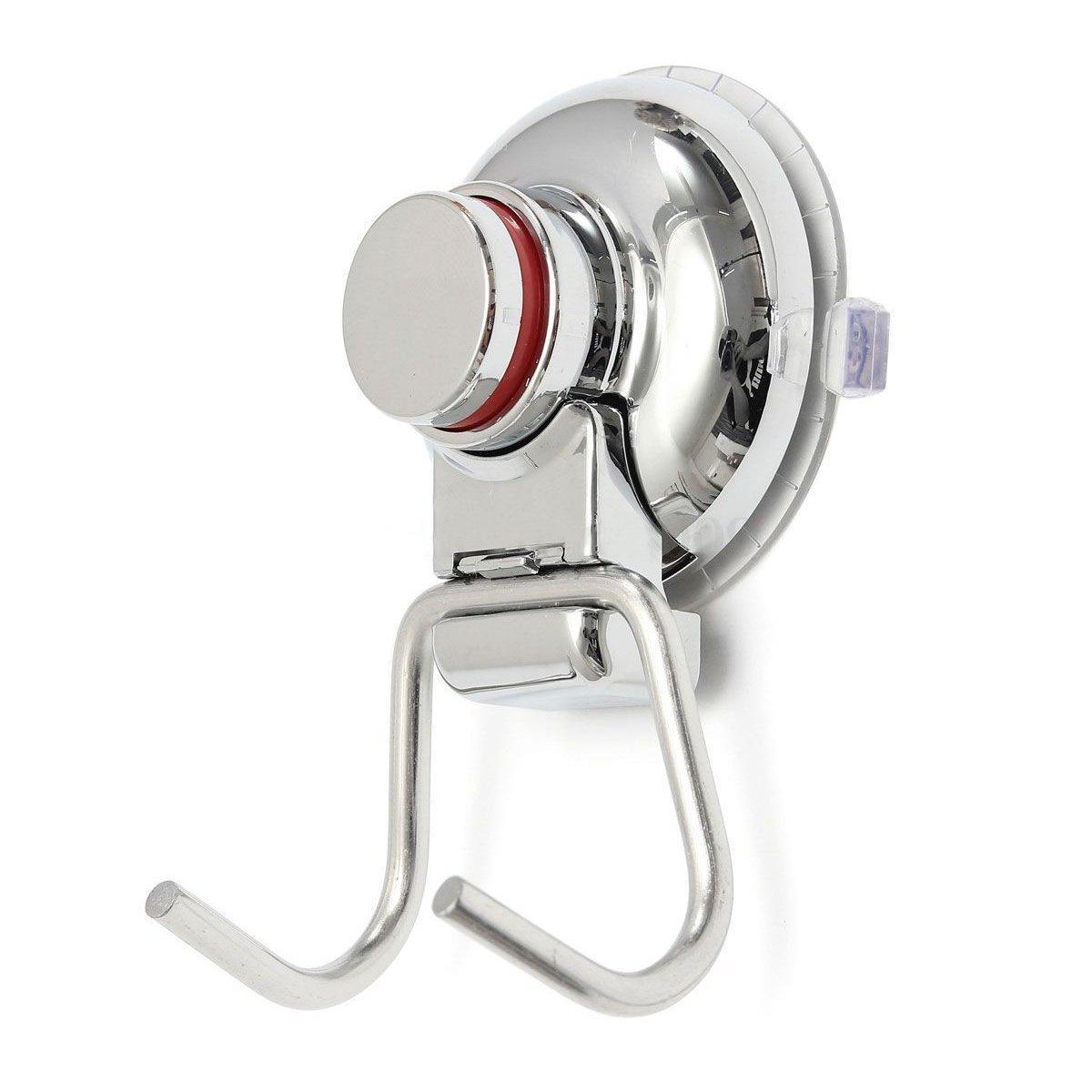 Percha de ventosa - SODIAL(R)doble gancho de fuerte vacio de color plata de acero inoxidable de bano y cocina TOOGOO