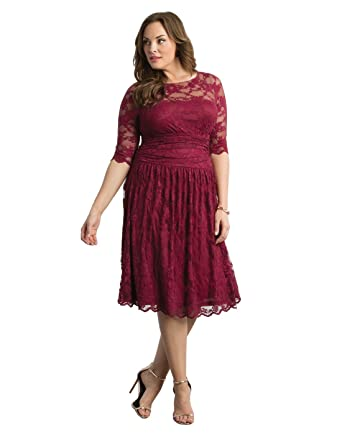 Kiyonna Womens Plus Size Luna Lace Cocktail Dress ...