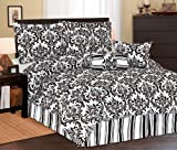 5Pcs Twin XL Extra Long Beverly Comforter Set Black