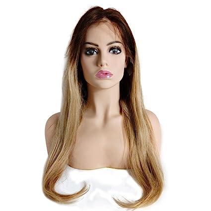 Mila Ombre Cabello humano Lace Front Peluca 130% densidad recto 4/27 medio marrón