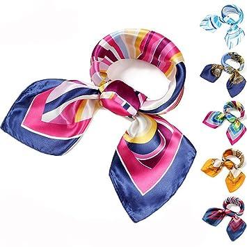 2 pcs multifonctionnel tendance pour femme à rayures Imprimé carré foulards  en soie foulards Sac foulards 0d0e89cf67b
