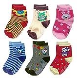 Deluxe Non Skid,Anti Slip,Slipper Ankle Socks For Baby,Toddler,Kids,Boys,Girls (5-7 years, 6 pack/assorted)