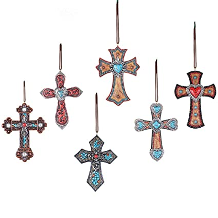 collections etc southwestern cross christmas ornaments set of 6 - Southwest Christmas Decorations