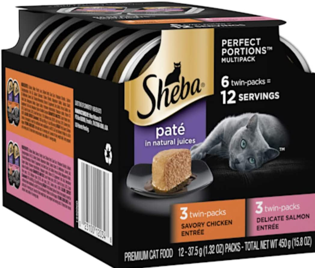Sheba Perfect Portions Multipack Savory Chicken and Delicate Salmon Entrees Wet Cat Food, 2.64 oz., Count of 6