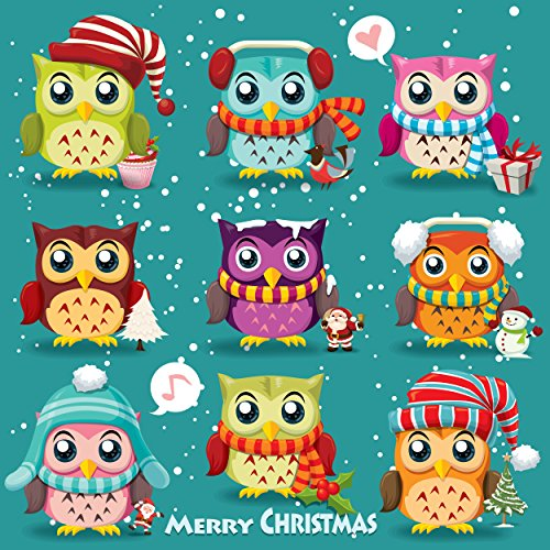 Wentworth Vintage Christmas Poster Design with Owls Santa Claus Snowman 230 Piece Square Wooden Puzzle with Whimsy Shaped Pieces