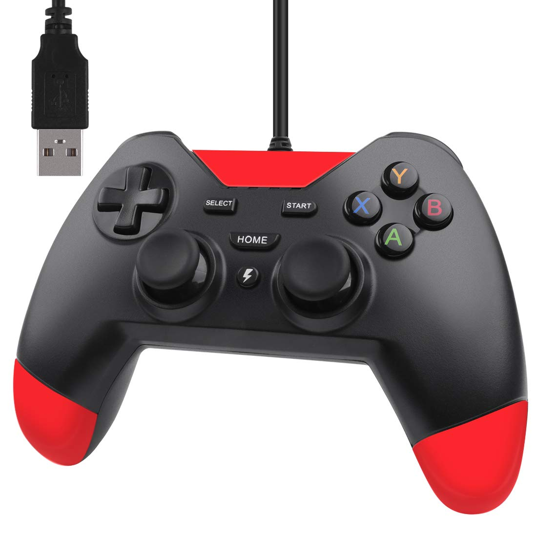 Mekela PC Controller Wired USB Gamepad Joystick for Playstation 3 PS3 PSVITA TV Box Steam Android Windows XP 7 8 10 with Dual-Vibration Tubro(Red)