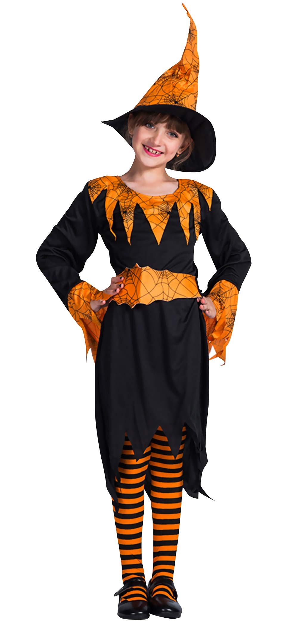 Little Girls Long Sleeve Halloween Pumpkin Witch Dress Up Set Cosplay Outfit L for 12-14 Y