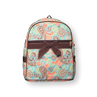 Lar Lar Oliff Children's Backpack Quilted Paisley With Bow