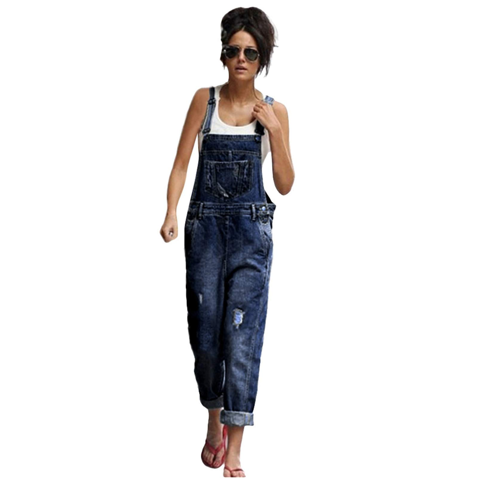 Thenxin Women Vintage Denim Bib Overalls with Pocket Casual Wash Blue Straight Leg Jeans for Juniors(Blue,S)