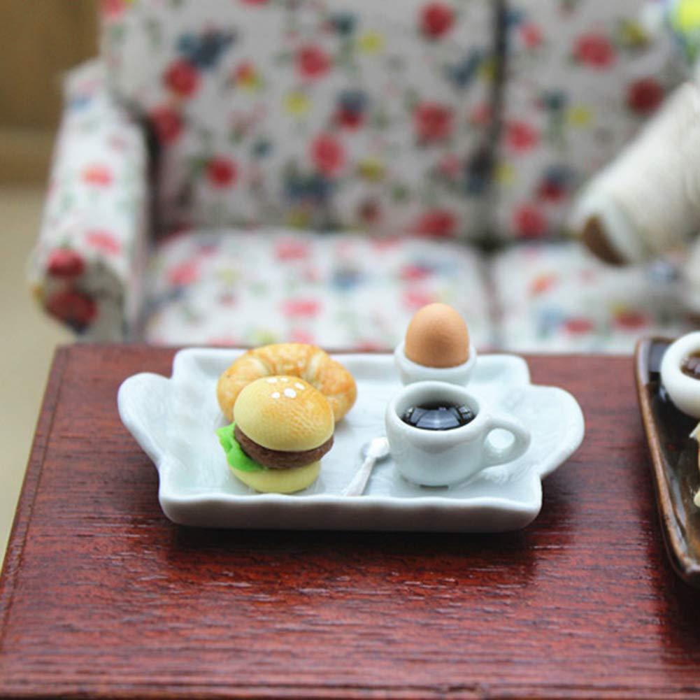 Ei Hamburger Brot Kaffeeteller Rollenspiel Modell Geschenk TankMR Simulation Miniatur Puppenhaus Spielzeug Puppenhaus Puppe Dekoration Zubeh/ör Rollenspiel Kinder Spielzeug Mini-Food-Platte