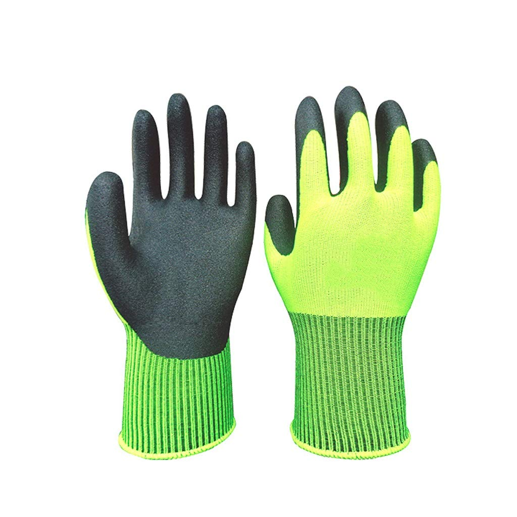 Lxrzls Gauntlets for Industrial, Chemical-Resistant Nitrile GlovesglovesLatex Coated Work (Color : Yellow, Size : S)