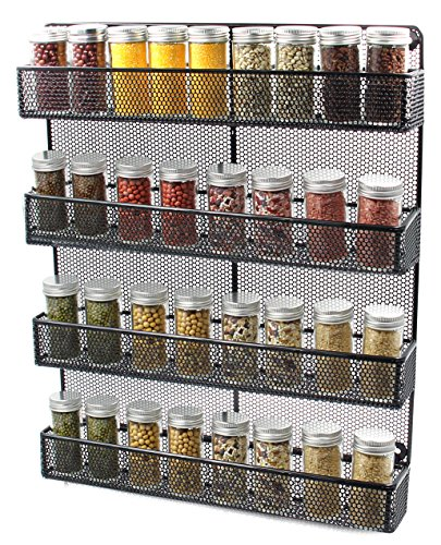 esylife 4 tier large wall mounted wire spice rack organizer import it all. Black Bedroom Furniture Sets. Home Design Ideas