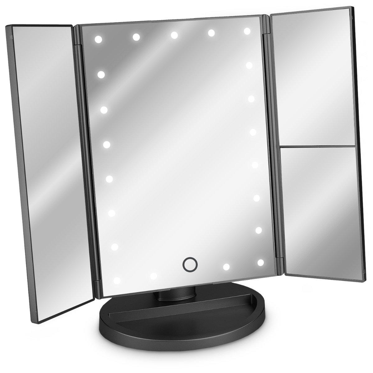 Navaris Specchio pieghevole per trucco a LED - specchio cosmetico ingranditore illuminato per make up con specchietti ingrandimento x2 x3 - oro rosa KW-Commerce 43457.89_m000765