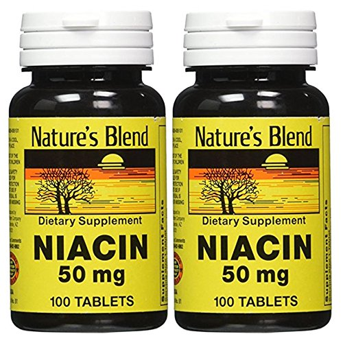 Cheap Pack of 2 200 Tabs Nature's Blend Niacin 50 Milligram Bundled by Maven Gifts