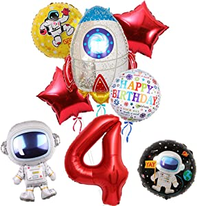 8Pcs Rocket Balloons Party Supplies, Large Astronaut Spaceman Mylar Balloon for 4th Birthday Balloon Bouquet Decorations, Outer Space Theme, Baby Shower, Home Office Decor, Birthday Backdrop