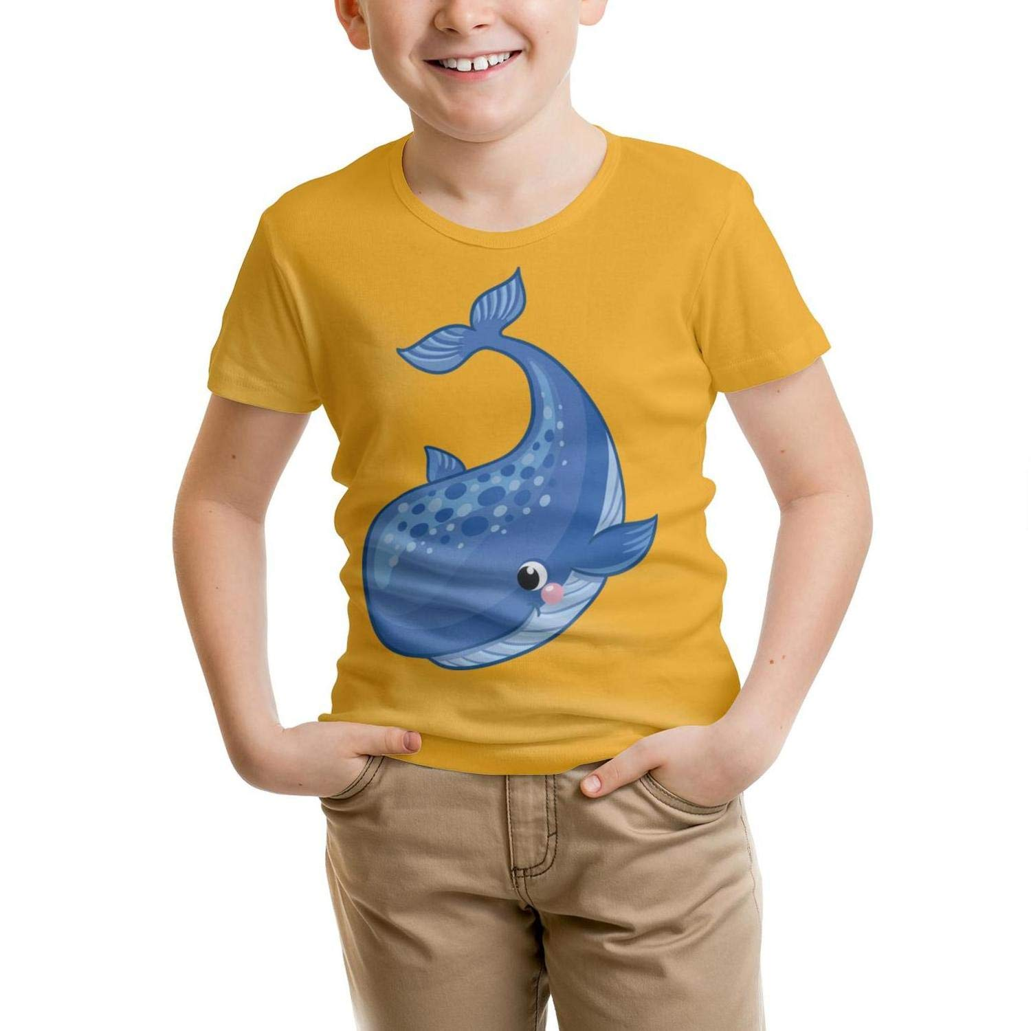 Qruladot Whale All Cotton T Shirts Solid for Kids Shirts