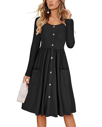 KILIG Women s Dresses Long Sleeve Casual Button Down Swing Midi Dress with  Pockets(Black fc4d63778