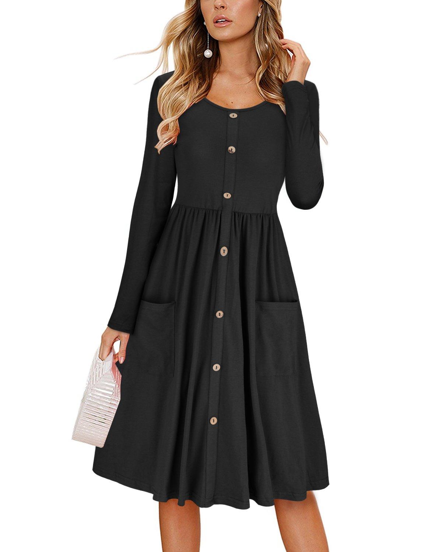 KILIG Women's Dresses Long Sleeve Casual Button Down Swing Midi Dress with Pockets(Black, XL)